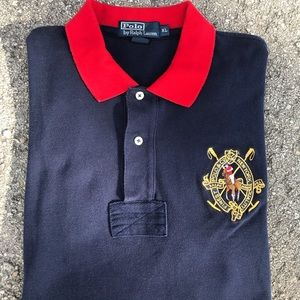 Vtg 90s Polo Ralph L Shirt Spell Out red blue